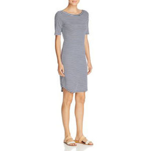 THREE DOTS Desert Stripe Scoop Back Tee Dress